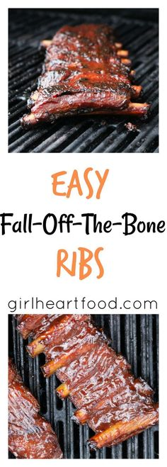This recipe for easy fall-off-the-bone ribs is delicious! Pork ribs are coated with a simple spice mixture, baked, brushed with bbq sauce & then grilled. The only rib recipe you'll need! Ribs Au Barbecue, Bbq Pork Ribs, Barbecue Smoker, Barbecue Sauce, Smoker Ribs, Barbecued Ribs, Barbecue Area, Pork Rib Marinade, Pork Ribs Grilled