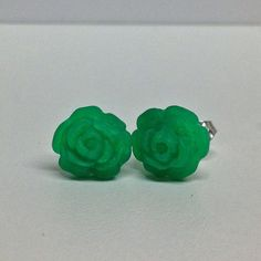 Hand Made Rose Earrings by Cute as a Button's by CuteasaButton76