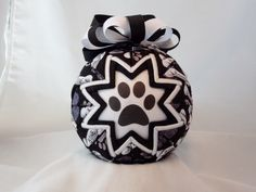 Paw Print Black and Bones Quilted Ornament Folded Fabric (Q93) by CartersCrafts12 on Etsy https://www.etsy.com/listing/250549200/paw-print-black-and-bones-quilted
