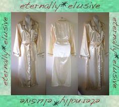 VTG Long Glossy Liquid Satin Wet Look Dressing Gown Robe Women Ladies Size 18 20