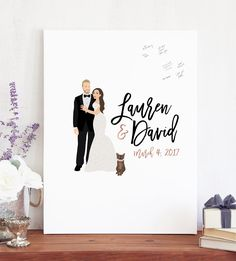 Our couple portrait guest book alternative captures the love and well wishes of your wedding guests in a fun, new way.