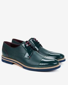 Textured leather derby shoes - Green | Shoes | Ted Baker