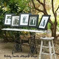 Fun and cute idea to bring that family history into the wedding set, what better pairing then an old sewing machine base, just like grandmas used. Crystal and Crates Vintage Rentals has bases & different tops