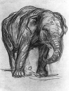 """I chose this image for """"Mark and Line"""" due to the exquisite detail in the drawing. Elefant 1907 By Franz Marc: Category: Art Currency: GBP Price: Retail Price: Silk Screen Prints Der Blaue Reiter Black and… Franz Marc, Vida Animal, Elephant Love, Elephant Sketch, Elephant Drawings, Alphonse Mucha, You Draw, Wassily Kandinsky, Art Plastique"""
