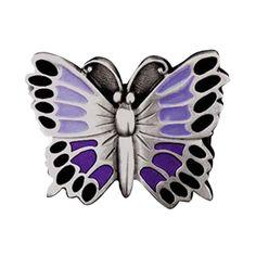 Purple Butterfly Enamel Belt Buckle