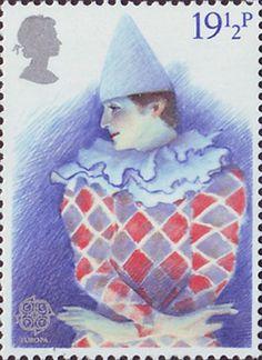 Europa. British Theatre 19.5p Stamp (1982) Harlequin