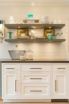 Elizabeth Kimberly Design - kitchens - Olga Sconce, base cabinets, base kitchen cabinets, no upper cabinets, gray shelves, gray floating she...