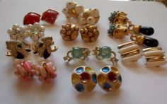 Vintage Rhinestone Earrings Lot 10 Pair