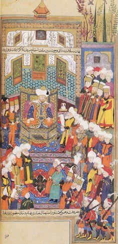 Timur'un elçileri Yıldırım Bayezid'in huzurunda. Mirhand, Ravdatü's-Safâ. 1599-1600.Londra, British Library. Or. 5736, y. 172b. Has-bağçede Ayş u Tarab, Halil İnalcık, YKY, Sayfa 118.