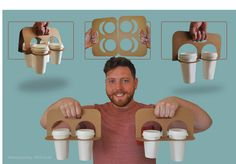 Splittable Cup Carrier on Packaging of the World - Creative Package Design Gallery Food Packaging Design, Packaging Design Inspiration, Brand Packaging, Coffee Packaging, Bottle Packaging, Paper Cup Design, Coffee To Go, Coffee Cups, Coffee Shop Business
