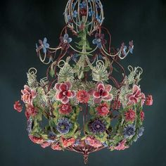 Bead Weaving: Start Your Spring with Beaded Leaves and Flowers with Huib Petersen. Beaded flower chandelier as seen in Beads in Bloom by Arlene Baker O Beads, Fuse Beads, Beads And Wire, Seed Beads, Flower Chandelier, Beaded Chandelier, Chandeliers, Bead Loom Patterns, Beading Patterns