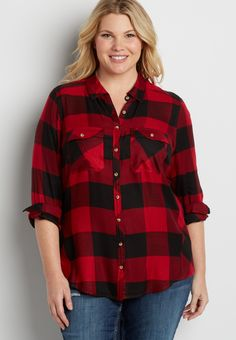 plus size button down shirt in red and black buffalo plaid