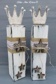 """Weihnachtsdeko - Kerzenständer Set Shabby""""Shabby-Leuchter-Sterne"""" - ein Designerstück von Deko-Idee-Eolion bei DaWanda"""