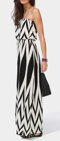 Strapless long maxi chevron dress