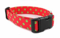 Bow Wow Couture Dog Collar in Christmas Polka Dot available at www.ZoePetSupply.com