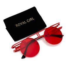 ROYAL GIRL Round Retro Gothic Steampunk Sunglasses Women Men Circle Lens  Metal Frame MIRRORED LENS - 70c617ed764b