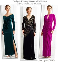 Jacques Vert Lorcan Mullany designer gowns  with long sleeves glamorous style ideas for evening wedding reception for Mother of the Bride/Groom