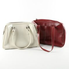 a44dc9036e7c Lodis Red Leather Laptop Case and Arcadia White Leather Handbag