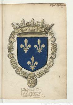Roi de France. Armoiries, pour la plupart coloriées, de la noblesse de France du temps de François Ier. 1535.