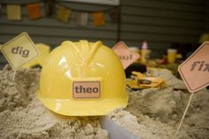 Personalized hard hats for a construction theme party
