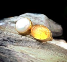 Oval Yellow Citrine Ring Round Pearl Ring by KastoniJewels on Etsy