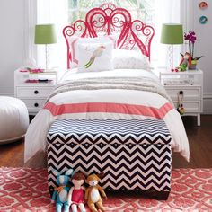 Clean and Preppy Parrots themed bedroom from The Land of Nod