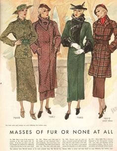 """Keeping us warm and fashionable in 1934, McCall Magazine says we should be 'Squared Off and Buttoned Up"""" with """"Masses of Fur or None at All""""."""