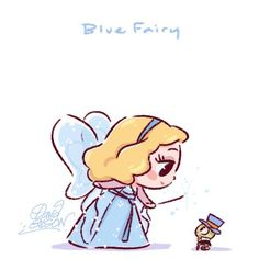 The Blue Fairy [feat. Jiminy Cricket] (Chibis by PrinceKido @deviantART) #Pinocchio