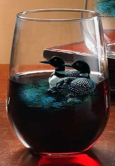 Common Loon Stemless Wine Glass