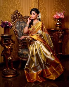 Sundari The name ''Sundari'' means Beauty. This name was selected as it represents the beauty of our tradition. The whole look was… South Indian Wedding Saree, Indian Bridal Sarees, Wedding Silk Saree, Indian Beauty Saree, Tamil Wedding, Silk Saree Blouse Designs, Bridal Blouse Designs, Blouse Patterns, Silk Saree Kanchipuram