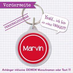 (Schlüssel-)anhänger ♥ Wunschname & Farbe von Kuschelich auf DaWanda.com