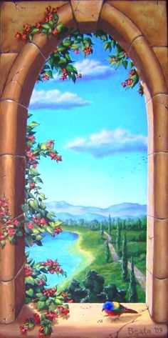 Kear-Smith Trompe L'oeil - Gothic Window Painting by Beata Wojcik - Trompe L'oeil - Gothic Window Fine Art Prints and Posters for Sale Faux Painting, Mural Painting, Mural Art, Wall Murals, Paintings, Gothic Windows, Image 3d, Window View, Illustration