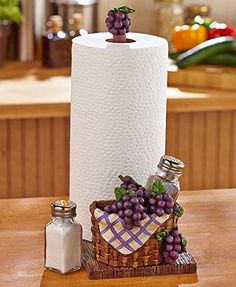 GRAPE AND APPLES Paper Towel Holder / Salt and pepper shakers new! (GRAPES) AIM