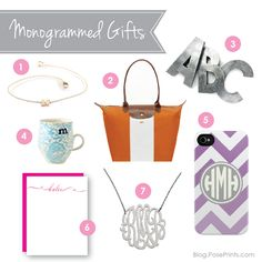 My favorite monogrammed gifts:    1* Initial bracelet by Zoe Chicco   2* Custom Monogrammed Tote Bag by Longchamp   3* Zinc letters from Anthropologie   4* Monogram Mug from Anthropologie 5* iPhone Case by Plum Street Prints   6* DIY Name Stationery by Me/PosePrints.com   7* Max Monogram Necklace