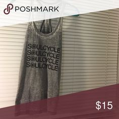 SoulCycle Racerback Tank Gray with Black writing SoulCycle Tops Tank Tops