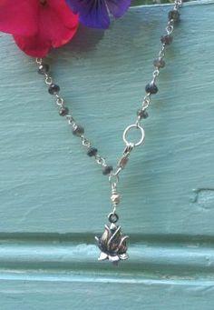 Handmade Lotus Charm Bracelet in Labradorite