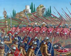 Battle of the Milvian Bridge. The illustration shows the troops of Constantine, wearing on their shields the crismón, attacking the Praetorian Guard of Maxentius, using scale armor.