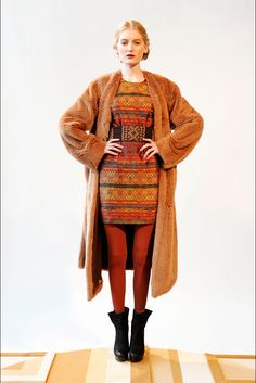 Christian Cota RTW. Lovely autumnal colours in this dress. Keep the stockings for warmth and a quirky touch.