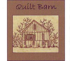 Quilt Barns Flower Basket Block - Redwork Hand Embroidery Pattern - by Beth Ritter - Instant Digital Download via Etsy