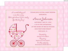 Personalized Floral Garden Stroller Baby Shower Invitations