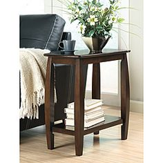 @Overstock - Add plenty of storage space with this elegant side table. The walnut finish adds warmth to any room, while the lower shelf has room to store your favorite magazines or a folded throw.http://www.overstock.com/Home-Garden/Dark-Walnut-Finish-Wooden-Chair-Side-End-Table/6558801/product.html?CID=214117 $94.99
