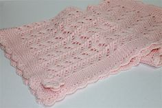 Pink Hand Knitted Pram   Car Blanket with Crocheted Edge   Ready to Ship