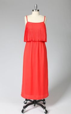 Maxi Dress with Pleats and Braided Strap #tulle
