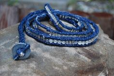 Color Me Fancy: Upcycled, Recycled, Repurposed Blue Jean Belt/Bracelet/Necklace - Denim, Cat's Eye and Pewter with Steel Washer Buckle. $69.00, via Etsy.