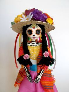 Paper Mache Catrina Muchas Flores Hat. Day of the by LaCasaRoja