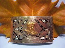 Old BUCKAROO Boots Spurs Hand Engraved Cowboy Belt Buckle Alpaca MAKE OFFER $95.00 or Best Offer Free shipping