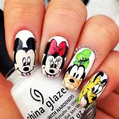 Nail Art Pictures for Short Nails disney nail art pictures – Easy . Love Nails, Fun Nails, Pretty Nails, Disney Nail Designs, Cute Nail Designs, Disney World Nails, Mickey Nails, Super Cute Nails, Nail Art Pictures
