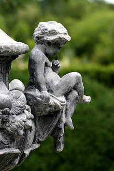 garden statue with a perched cherub Dream Garden, Garden Art, Garden Design, Garden Whimsy, Garden Soil, Garden Statues, Garden Sculpture, Statue Ange, English Girls