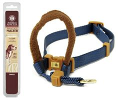 $9.99-$9.99 Petmate 3/4-Inch by 16-24-Inch Medium AKC Padded Dog Halter, Blue - American kennel club padded dog halter was developed by pet care experts to easily convey a simple heel command in an humane, safe effective manner. Your dog's tendency to pull is eliminated by the gentle pressing action of the fleece-covered muzzle loop on the bridge of the dog's nose. Navy blue, fits medium dogs 3/4 ...