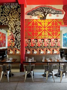 """The coolest place I've ever been,"" veteran restaurant critic John Mariani commented while stopping by the Wynwood Kitchen & Bar . Restaurant Design, Decoration Restaurant, Hotel Restaurant, Chinese Restaurant, Interior Design Magazine, Commercial Interior Design, Commercial Interiors, Bar Interior, Cafe Chairs"